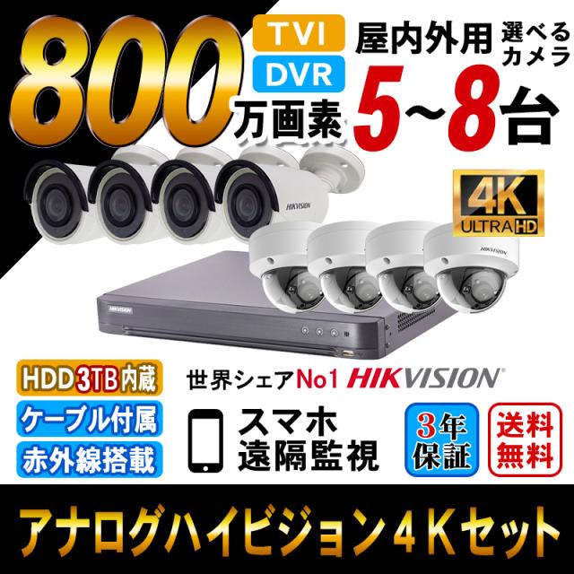 4K 防犯カメラ 家庭用 録画機セット 防犯カメラセット 遠隔監視 HIKVISION TVI800万画素 カメラ5~8台 8chレコーダー ultra HD-TVI HDD3TB込 4K-SETN-8CH 送料無料
