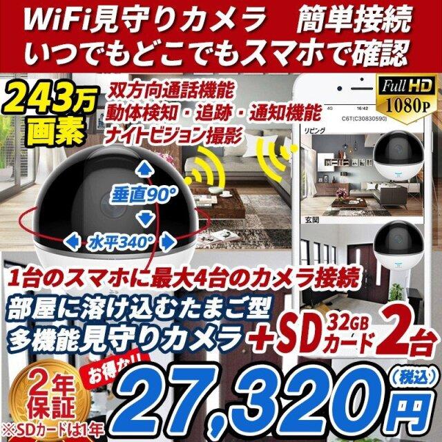 防犯カメラ 家庭用 見守りカメラ C6TC 2台 WI-FI対応 赤ちゃん ペット  スマホ 遠隔監視 SDカードセット  簡単接続 あすつく 1080P wifi