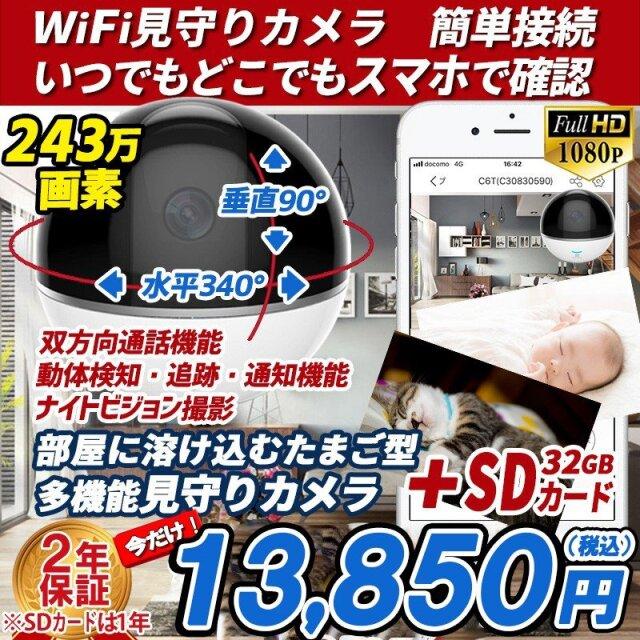 防犯カメラ 家庭用 見守りカメラ C6TC 1台 WI-FI対応 SDカードセット あすつく
