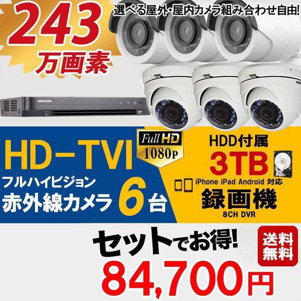 防犯カメラ 家庭用 録画機セット TVI243万画素 カメラ6台 HDD3TB込 屋外屋内 TVI-6SET-3TB 送料無料