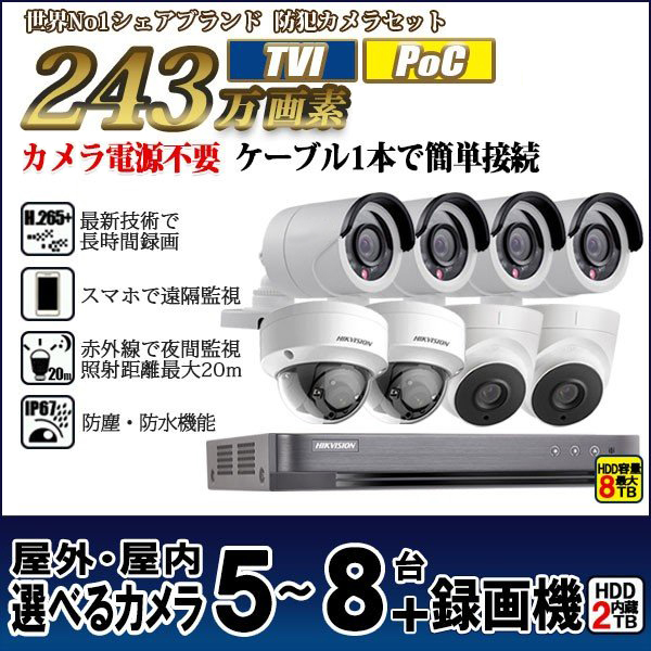 防犯カメラ 家庭用 録画機セット 防犯カメラセット 遠隔監視 HIKVISION TVI243万画素 カメラ5台~8台 HDD2TB込 PoC 給電 電源不要   POC-SET-8CH 送料無料