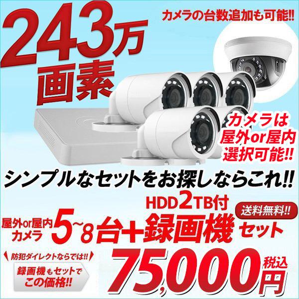 防犯カメラ 家庭用 録画機セット 防犯カメラセット 遠隔監視 AHD243万画素 カメラ5~8台 HDD2TB込 屋外 屋内 BHC-SET-8CH 送料無料