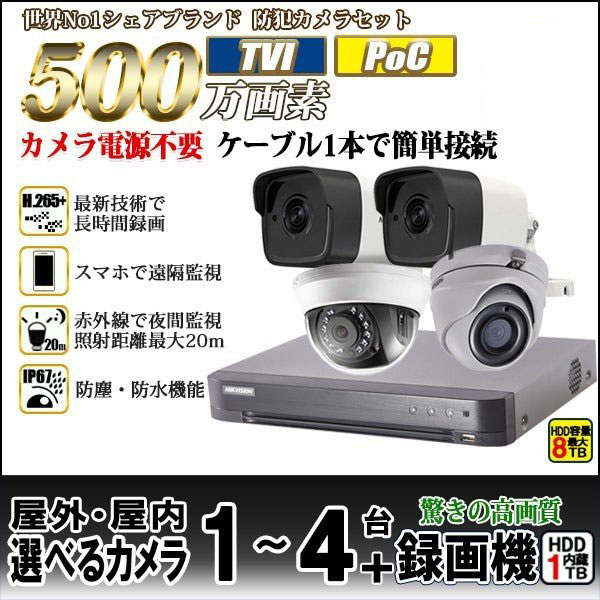 防犯カメラ 家庭用 録画機セット HIKVISION TVI500万画素 カメラ1~4台 4chレコーダー HD-TVI HDD1TB込 POC給電セット 500POC-SET-4CH 【送料無料】