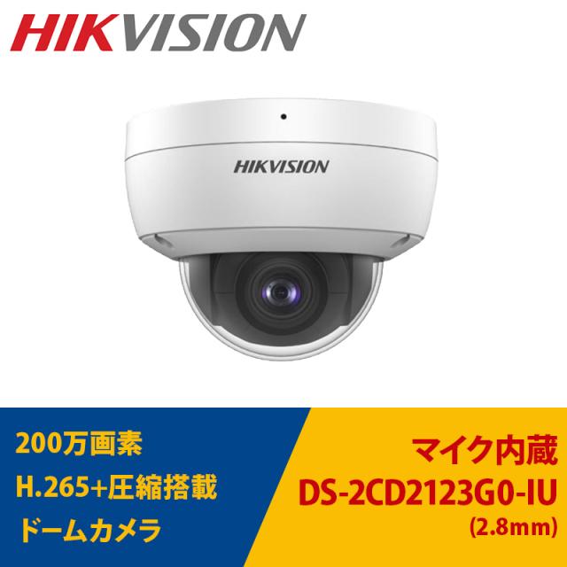 防犯カメラ DS-2CD2123G0-IU HIKVISION 屋内用 IP 200万画素 レンズサイズ2.8m m ドーム型 マイク内蔵 送料無料