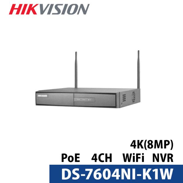 4K対応防犯カメラ用録画機 DS-7604NI-K1/W HIKVISION| WIFI NVR 4CH H.265+対応 デジタルレコーダー【送料無料】
