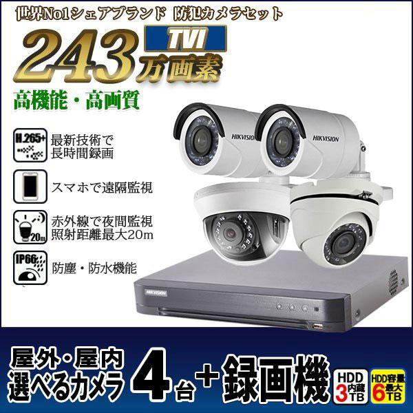防犯カメラ 家庭用 録画機セット TVI243万画素 カメラ4台セット HIKVISION HDD3TB込 屋外屋内 4chレコーダー tvi-set1-d4c43tb-hik 送料無料