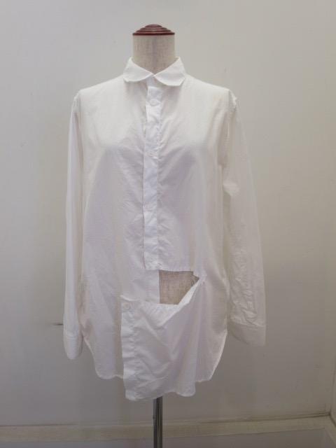 Y's YOHJI YAMAMOTO (ワイズ ヨウジヤマモト),綿ブロード左スラッシュシャツ:ホワイト