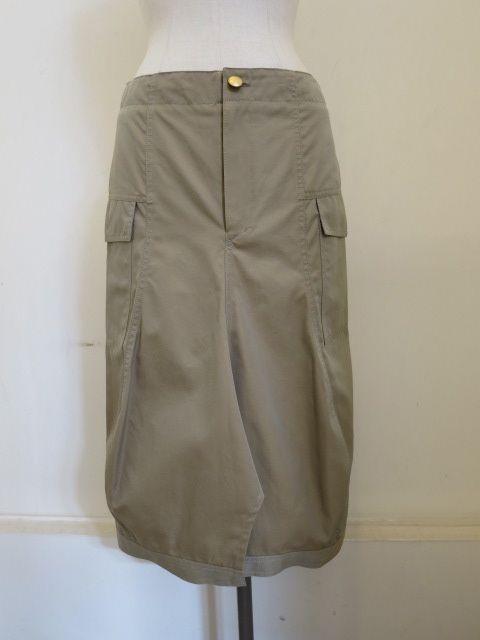 サカヨリ(sakayori.),高密度バーバリー撥水加工変形セミタイスカート:ベージュ