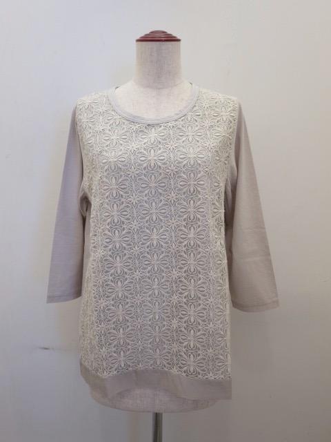 KEI Hayama PLUS(ケイハヤマプリュス),麻刺繍レース×強撚天竺七分袖Tシャツ:キナリ