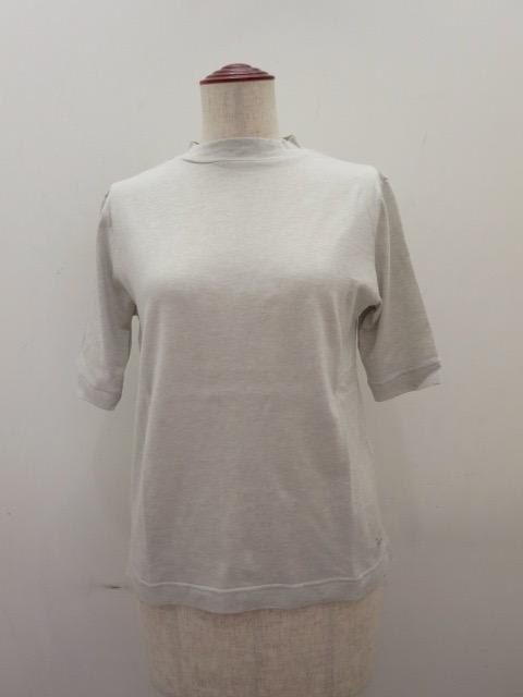 KEI Hayama PLUS(ケイハヤマプリュス),コットンシルク天竺台襟半袖Tシャツ:ライトグレー