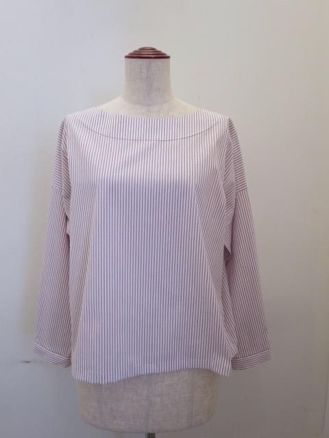 122 Sheep(ワンツーツー シープ),高密度ストレッチストライプ襟なしブラウス:ピンク