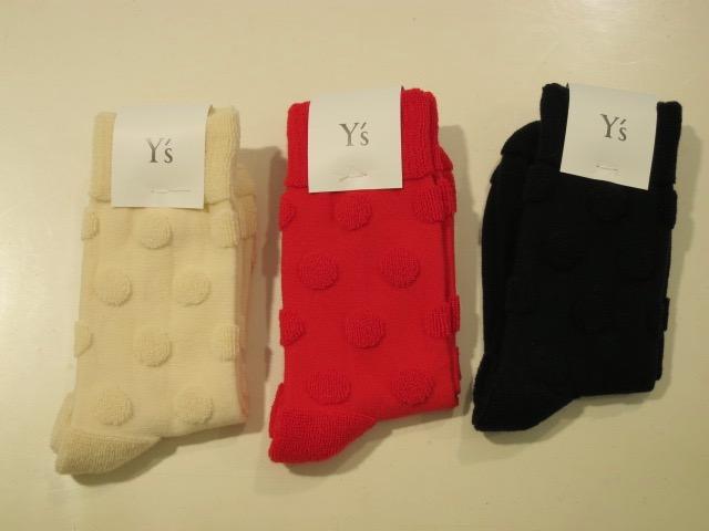 Y's YOHJI YAMAMOTO (ワイズ ヨウジヤマモト) パイルドットソックス:左からオフホワイト/レッド/ブラック