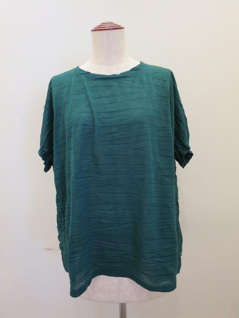 me ISSEY MIYAKE (ミー イッセイミヤケ),ランダムプリーツ半袖Tシャツ:グリーン