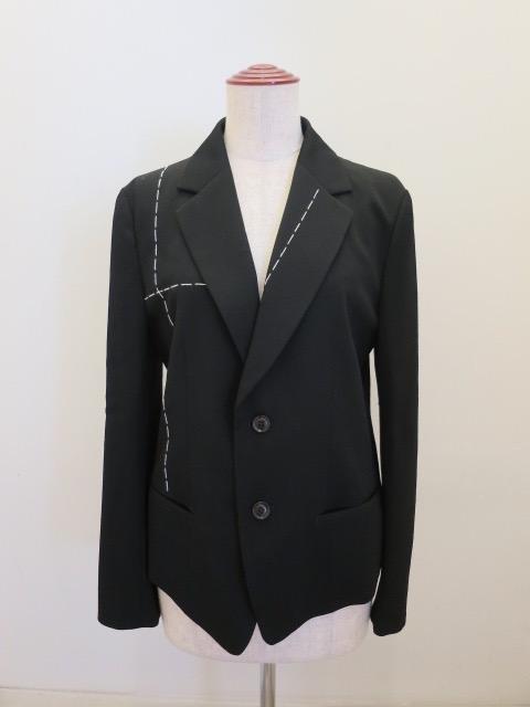 Y's YOHJI YAMAMOTO (ワイズ ヨウジヤマモト),シワギャバハンドステッチジャケット:ブラック