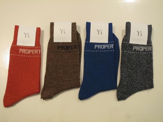 Y's YOHJI YAMAMOTO (ワイズ ヨウジヤマモト),ラメソックス:左からレッド/ブラウン/ブルー/ブラック