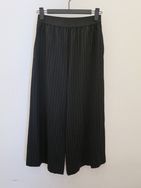 KEI Hayama PLUS(ケイハヤマプリュス),ドビーストライプウエスト平ゴムストレートパンツ:ブラック