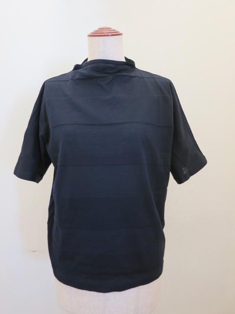 KEI Hayama PLUS(ケイハヤマプリュス),ボーダージャガードボトルネック半袖Tシャツ:ネイビー