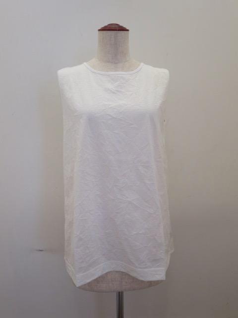 KEI Hayama PLUS(ケイハヤマプリュス),スーピマコットンキャッチャーワッシャーノースリーブTシャツ:ホワイト