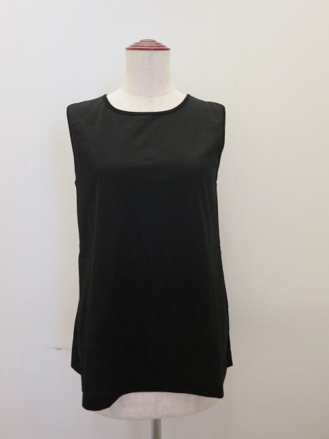 KEI Hayama PLUS(ケイハヤマプリュス),スーピマコットンキャッチャーワッシャーノースリーブTシャツ:ブラック