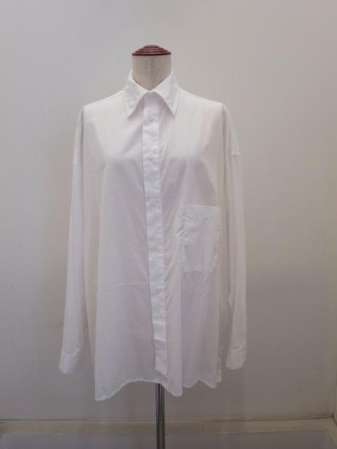 Y's YOHJI YAMAMOTO (ワイズ ヨウジヤマモト),綿ブロードフラシ前立てブラウス:ホワイト