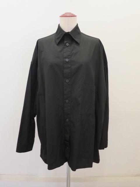 Y's YOHJI YAMAMOTO (ワイズ ヨウジヤマモト),綿ブロードフラシ前立てブラウス:ブラック