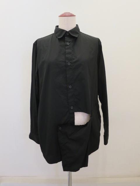 Y's YOHJI YAMAMOTO (ワイズ ヨウジヤマモト),綿ブロード左スラッシュシャツ:ブラック