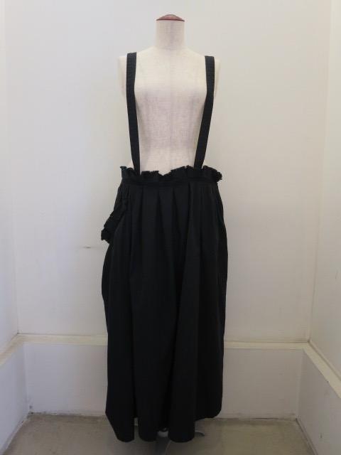 Y's YOHJI YAMAMOTO (ワイズ ヨウジヤマモト),C/N硫化サージ二重プリーツスカート:ブラック