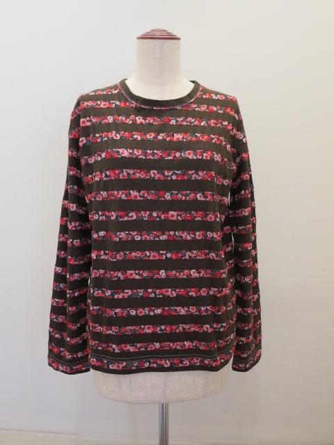 Y's YOHJI YAMAMOTO (ワイズ ヨウジヤマモト),ボーダー天竺丸首長袖Tシャツ:レッド