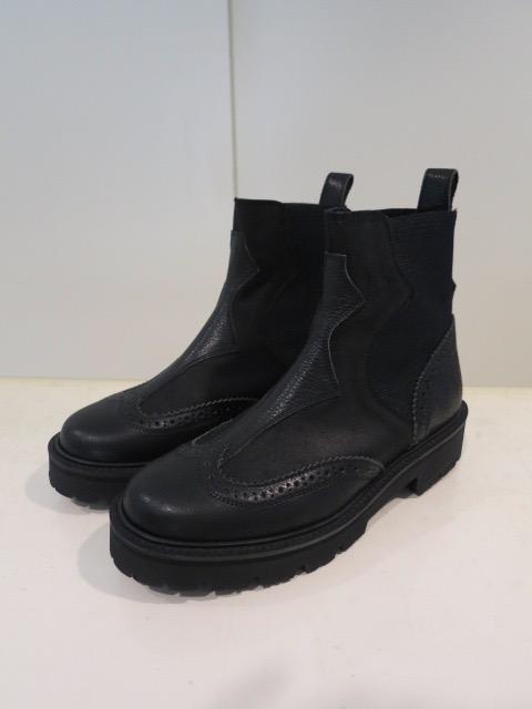 Y's YOHJI YAMAMOTO (ワイズ ヨウジヤマモト),コンビオイルスエードサイドゴアハーフブーツ:ブラック