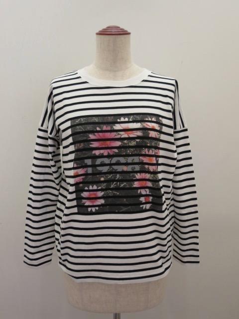 H.A.K (ハク),綿天竺写真インクジェットプリント長袖Tシャツ:ボーダー