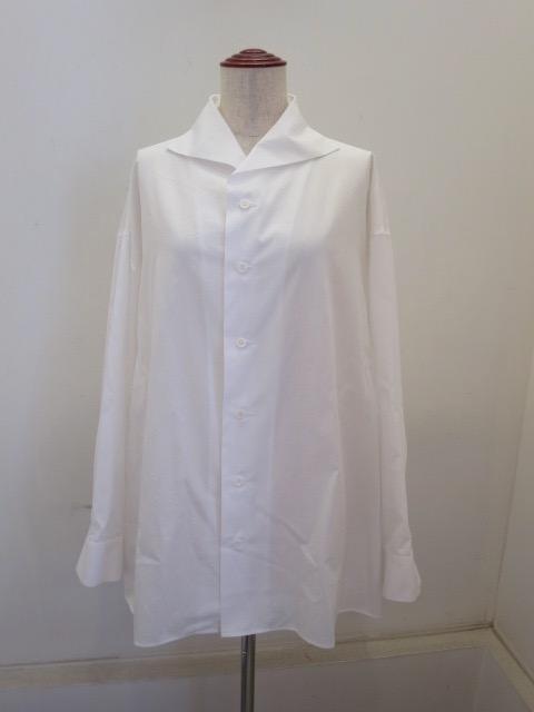 Y's YOHJI YAMAMOTO (ワイズ ヨウジヤマモト),100/2綿ブロード裁出スタンド長袖ビッグブラウス:ホワイト