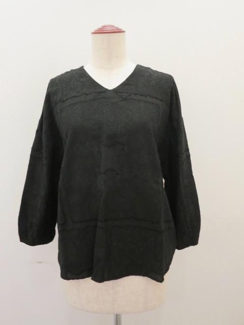 KEI Hayama PLUS(ケイハヤマプリュス),スクエアーガーデンジャガード七分袖ブラウス:ブラック
