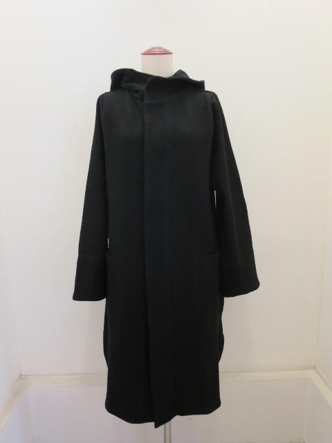 KEI Hayama PLUS(ケイハヤマプリュス),ブークレーフード付きコート:ブラック