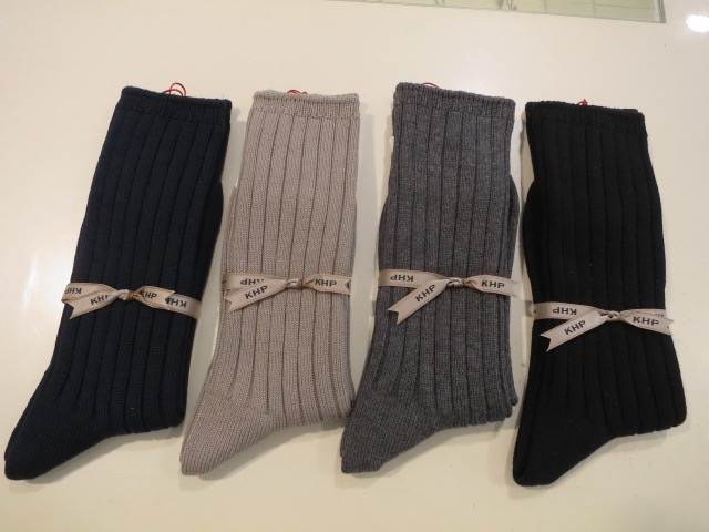 KEI Hayama PLUS(ケイハヤマプリュス),綿ワイドリブソックス:左からネイビー/グレー/チャコール/ブラック