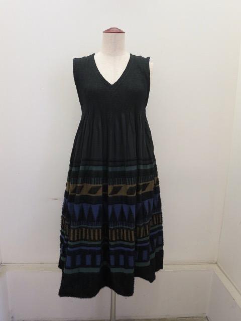me ISSEY MIYAKE (ミー イッセイミヤケ),プリミティブストライプジャガードパネルジャンバースカート:グリーン