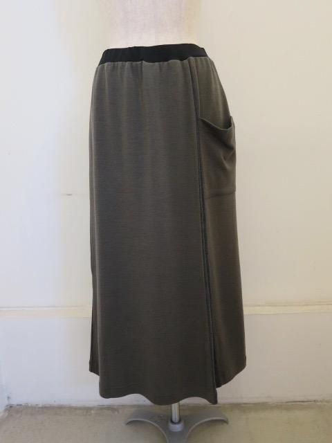 KEI Hayama PLUS(ケイハヤマプリュス),ウォッシャブルウール×リヨセルTOP接結セミタイトスカート:チャコール