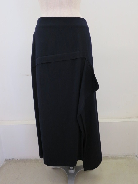 Y's YOHJI YAMAMOTO (ワイズ ヨウジヤマモト),ウールレーヨンツイルフラシ布アシメスカート:ネイビー