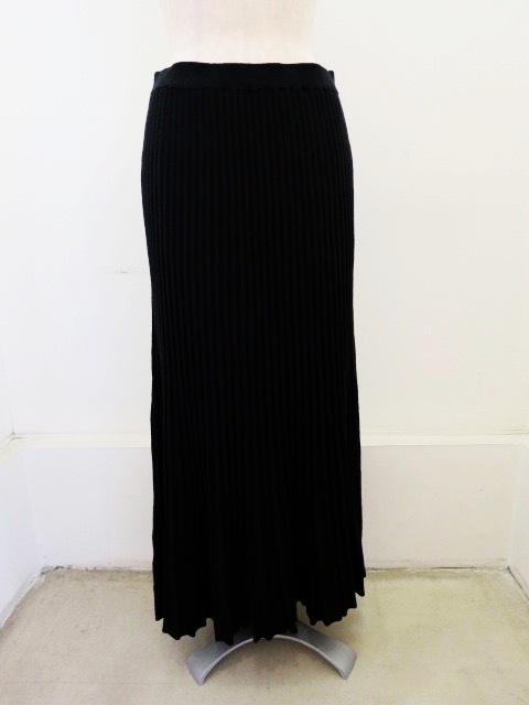 H.A.K (ハク),コットンリブ編み12Gロングスカート:ブラック×チャコール