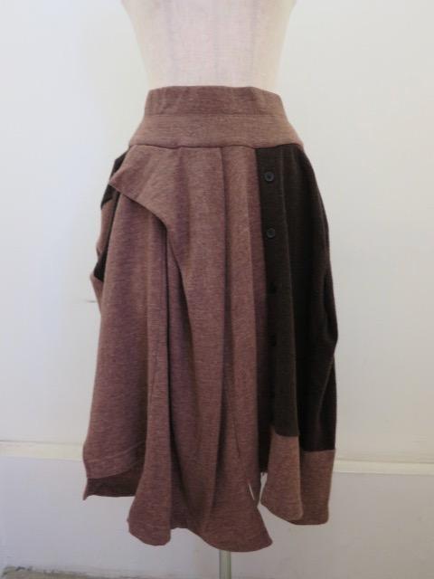 Y's YOHJI YAMAMOTO (ワイズ ヨウジヤマモト),ウールナイロン天竺ウエストゴム切替変形スカート:ブラウン
