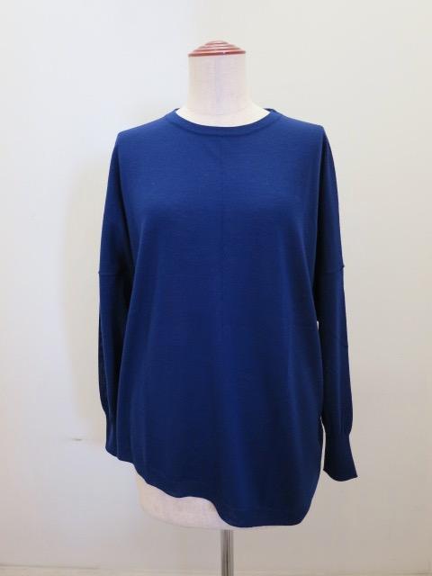 KEI Hayama PLUS(ケイハヤマプリュス),16Gビエラヤーン長袖薄手ニット:ブルー