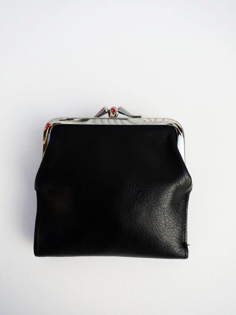 Y's YOHJI YAMAMOTO (ワイズ ヨウジヤマモト),半艶スムース口金財布小:ブラック