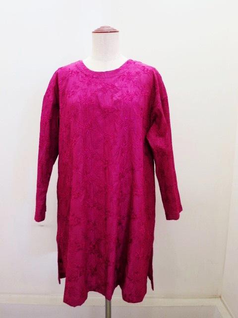 KEI Hayama PLUS(ケイハヤマプリュス),キュプラコットンシワ加工刺繍レース8分袖チュニックブラウス:ピンク