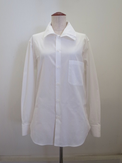 Y's YOHJI YAMAMOTO (ワイズ ヨウジヤマモト) 100/2綿ブロード重ね衿シャツ:ホワイト