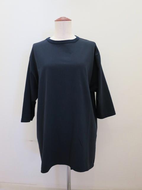 KEI Hayama PLUS(ケイハヤマプリュス) 度詰め天竺五分袖ビッグTシャツ:ネイビー