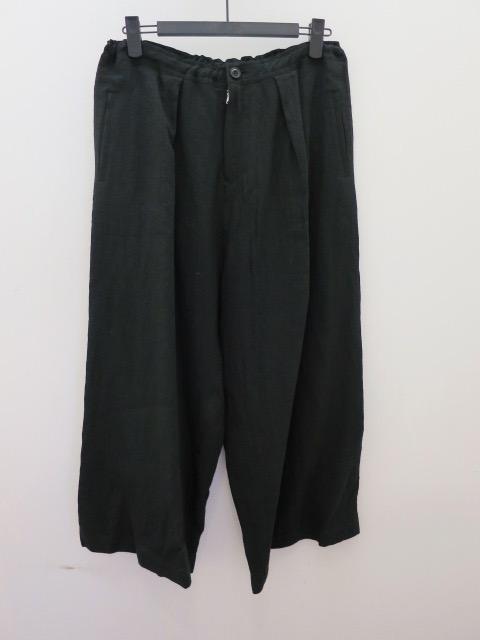 Y's YOHJI YAMAMOTO (ワイズ ヨウジヤマモト) リネン前タック太パンツ:ブラック
