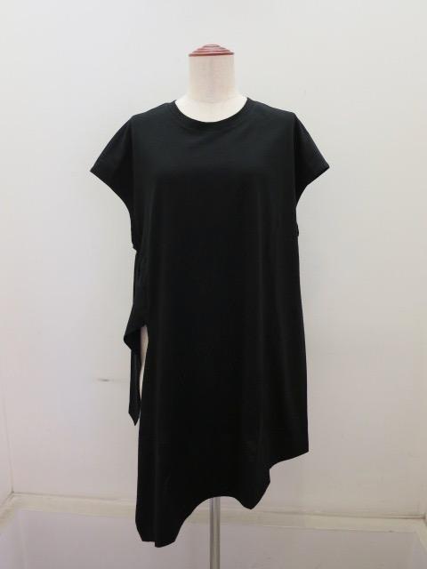 Y's YOHJI YAMAMOTO (ワイズ ヨウジヤマモト) 右スリットフレンチTシャツ:ブラック