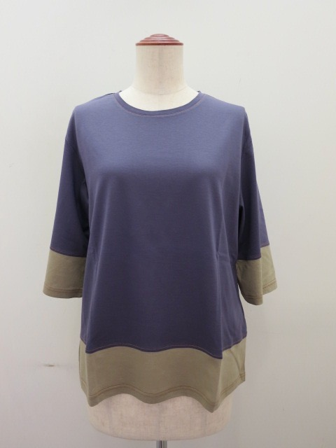ロジェ(ROSIER) リヨセルコットンジャージ五分袖Tシャツ:アッシュパープル×サウンドカーキ