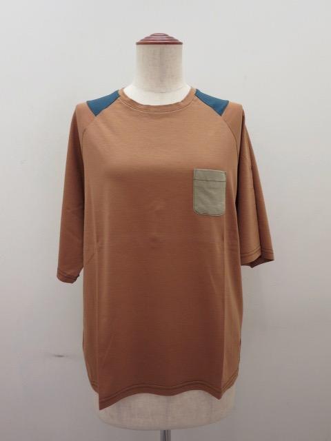 ロジェ(ROSIER) リヨセルコットンジャージラグラン五分袖Tシャツ:トッパーズオレンジ
