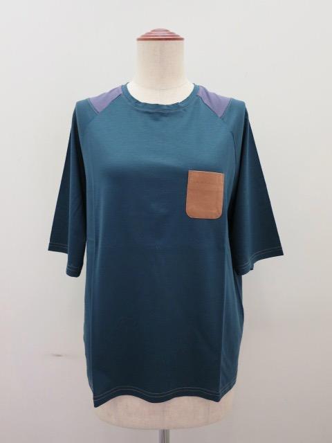 ロジェ(ROSIER) リヨセルコットンジャージラグラン五分袖Tシャツ:カナールグリーン