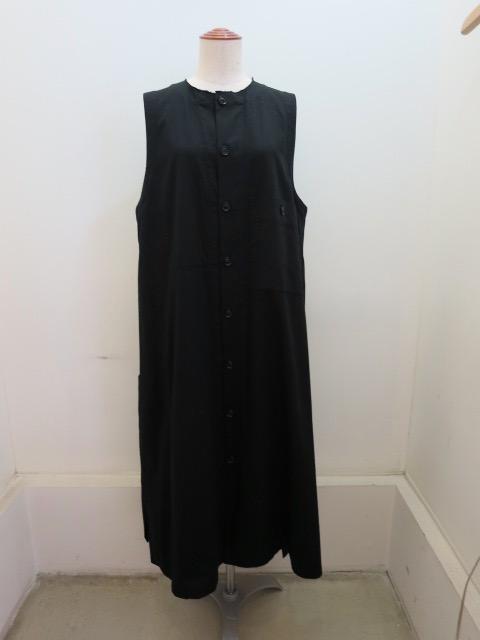 Y's YOHJI YAMAMOTO (ワイズ ヨウジヤマモト) コットンツイルロングポケットドレス:ブラック